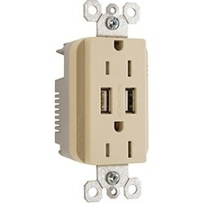 Pass & Seymour USB Charger with Duplex Decorator Tamper-Resistant Receptacle, Ivory
