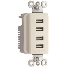 Pass & Seymour Quad USB Charger, Light Almond
