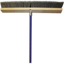 """Genuine Joe All Purpose Sweeper - Polypropylene Bristle - 24"""" (609.60 mm) Handle Width - 60"""" (1524 mm) Handle Length - Metal Handle - 1 Each - Gray"""