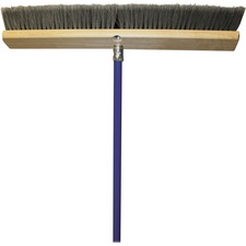 "Genuine Joe All Purpose Sweeper - Polypropylene Bristle - 24"" (609.60 mm) Handle Width - 60"" (1524 mm) Handle Length - Metal Handle - Gray"