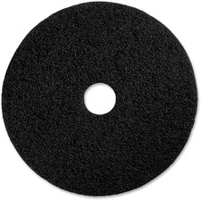 "Genuine Joe Black Floor Stripping Pad - 19"" Diameter - 5/Carton x 19"" (482.60 mm) Diameter x 1"" (25.40 mm) Thickness - Fiber - Black"