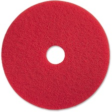 "Genuine Joe Red Buffing Floor Pad - 17"" Diameter - 5/Carton x 17"" (431.80 mm) Diameter x 1"" (25.40 mm) Thickness - Fiber - Red"