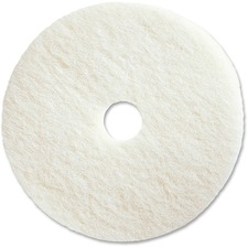"Genuine Joe Polishing Floor Pad - 17"" Diameter - 5/Carton x 17"" (431.80 mm) Diameter x 1"" (25.40 mm) Thickness - Fiber - White"