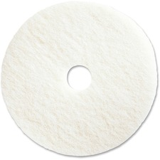 "Genuine Joe 20"" Super White Floor Pad - 20"" Diameter - 5/Carton x 20"" (508 mm) Diameter x 1"" (25.40 mm) Thickness - Fiber - White"