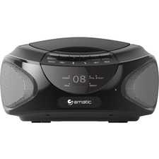Ematic CD Boombox with Bluetooth Audio & Speakerphone EBB9224 - 1 x Disc Integrated Stereo Speaker - Black - CD-DA - Auxiliary Input