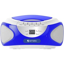 Ematic CD Boombox with Bluetooth Audio & Speakerphone EBB9224 - 1 x Disc Integrated Stereo Speaker - Blue - CD-DA - Auxiliary Input