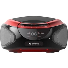 Ematic CD Boombox with Bluetooth Audio & Speakerphone EBB9224 - 1 x Disc Integrated Stereo Speaker - Red - CD-DA - Auxiliary Input