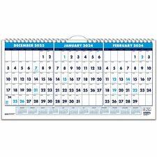 HOD 3647 Doolittle 3-month Horizontal Wall Calendar HOD3647
