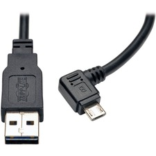 Tripp Lite 3ft USB Charging Cable Reversible A to Right Angle 5Pin Micro B