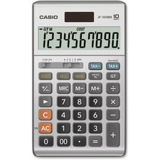 "Casio JF-100MS Solar Plus Display Calculator - Large Display, Independent Memory, Sign Change, Key Rollover, Decimal Point Selector Switch, Dual Power - Battery/Solar Powered - 6.8"" x 4.2"" x 1.1"" - Plastic - 1 Each"