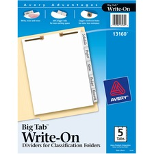 AVE13160 - Avery&reg Big Tab Write On Dividers for Classification Folders