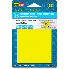 RTG 23772 Redi-Tag SeeNote Stickies Neon Transparent Notes RTG23772