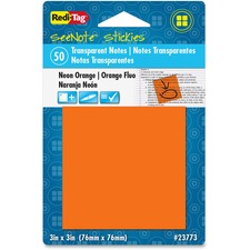 RTG 23773 Redi-Tag SeeNote Stickies Neon Transparent Notes RTG23773