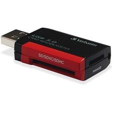Verbatim Pocket Card Reader, USB 3.0 - Black - SD, microSD, SDXC, miniSD, miniSDHC, microSDHC, microSDXC, SDHC - USB 3.0External - 1 Pack