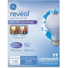 GEL 63009 GE Lighting Reveal 72W A19 Halogen Bulb GEL63009
