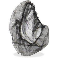 "Genuine Joe Black Nylon Hair Net - Comfortable, Lightweight, Durable, Tear Resistant - Large Size - 21"" Stretched Diameter - Contaminant Protection - Nylon - Black - 100 / Pack"