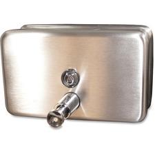 Genuine Joe Stainless 40oz Soap Dispenser - Manual - 1.18 L Capacity - Stainless Steel - 1Each