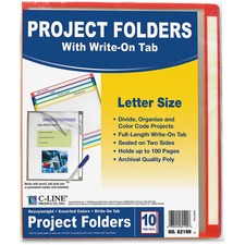 """C-Line Letter Project File - 8 1/2"""" x 11"""" - Polypropylene - Assorted, Clear - 10 / Pack"""