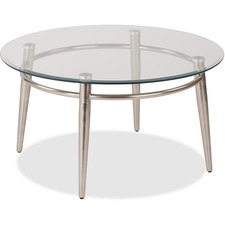 """WorkSmart Brooklyn MG1230R-NB Coffee Table - Clear Round Top - Four Leg Base - 4 Legs x 30"""" Table Top Width x 30"""" Table Top Depth - 16"""" Height - Assembly Required - Brushed Nickel"""