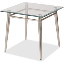 """WorkSmart Brooklyn MG0922S-NB End Table - Clear Square Top - Four Leg Base - 4 Legs x 22"""" Table Top Width x 22"""" Table Top Depth - 20"""" Height - Assembly Required - Brushed Nickel"""