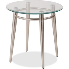 """WorkSmart Brooklyn MG0920R-NB End Table - Clear Round Top - Four Leg Base - 4 Legs x 20"""" Table Top Width x 20"""" Table Top Depth - 20"""" Height - Assembly Required - Brushed Nickel"""