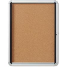 "Quartet Bulletin Board - 27"" (685.80 mm) Height x 21"" (533.40 mm) Width - Cork Surface - Durable, Locking Door - 1 Each"