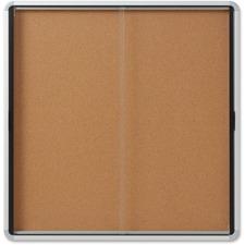 "Quartet Bulletin Board - 39"" (990.60 mm) Height x 38"" (965.20 mm) Width - Cork Surface - Durable, Locking Door - 1 Each"