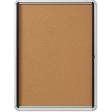 "Quartet Bulletin Board - 39"" (990.60 mm) Height x 30"" (762 mm) Width - Cork Surface - Durable, Locking Door - 1 Each"