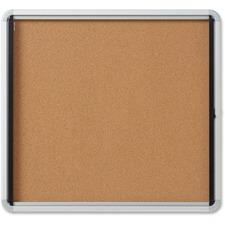 "Quartet Bulletin Board - 30"" (762 mm) Height x 27"" (685.80 mm) Width - Cork Surface - Durable, Locking Door - 1 Each"