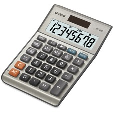 "Casio MS80 Desktop Solar Tax Calculator - Extra Large Display, Dual Power, Rubber Feet, Key Rollover, 3-Key Memory, Sign Change, Easy-to-read Display, Independent Memory - Battery, Solar Powered - 5.8"" x 4.1"" x 1.1"" - Metal, Plastic - 1 Each"