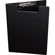 Davis Pad Holder Deluxe Clipboard - Vinyl, Nickel - 1 Each - Black