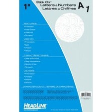 """Headline 1"""" Letters & Numbers - Self-adhesive - Helvetica Style - Water Proof, Permanent Adhesive - 1"""" (25.4 mm) Height - White - Vinyl - 1 Each"""