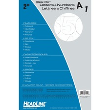 """Headline 2"""" Letter - Self-adhesive - Helvetica Style - Water Proof, Permanent Adhesive - 2"""" (50.8 mm) Height - White - Vinyl - 1 Each"""