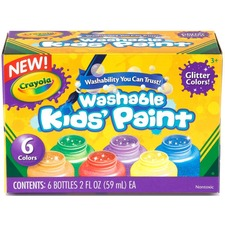 Crayola Premier Tempera Paint - 473.18 mL - 6 / Box - Assorted Glitter