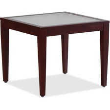 "Lorell Glass Top Mahogany Frame Table - Square Top - Four Leg Base - 4 Legs - 23.6"" Table Top Length x 23.6"" Table Top Width x 0.2"" Table Top Thickness - 20"" Height x 23.6"" Width x 23.6"" Depth"