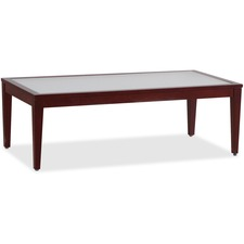 "Lorell Glass Top Mahogany Frame Table - Rectangle Top - Four Leg Base - 4 Legs - 47.5"" Table Top Length x 23.6"" Table Top Width x 23.6"" Table Top Depth x 0.2"" Table Top Thickness - 15.8"" Height Width x 23.6"" x 47.3"" Depth - Assembly Required"