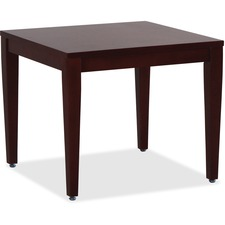 "Lorell Mahogany Finish Solid Wood Corner Table - Square Top - Four Leg Base - 4 Legs - 23.6"" Table Top Length x 23.6"" Table Top Width - 20"" Height x 23.6"" Width x 23.6"" Depth - Assembly Required"