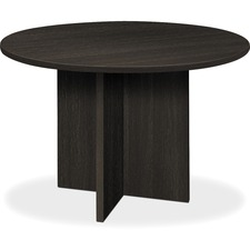 "HON 48"" Round Conference Table - Round Top - X-shaped Base - 1"" Table Top Thickness x 48"" Table Top Diameter - 29.5"" Height - Espresso, Laminated"