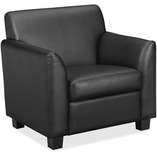 HON Circulate Tailored Club Chair - Black Leather Seat - Black SofThread Leather Back - Four-legged Base - 1 Each