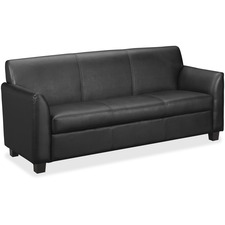 "HON Circulate Tailored Sofa - 73"" (1854.20 mm) x 28.75"" (730.25 mm) x 32"" (812.80 mm) - SofThread Leather Black SeatSofThread Leather Black Back"