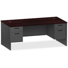 LLR97101 - Lorell Mahogany/Charcoal Pedestal Desk