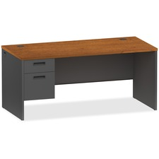 LLR97102 - Lorell Cherry/Charcoal Pedestal Desk