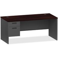 LLR97103 - Lorell Mahogany/Charcoal Pedestal Desk