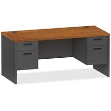LLR97106 - Lorell Cherry/Charcoal Pedestal Desk
