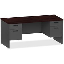 LLR97107 - Lorell Mahogany/Charcoal Pedestal Desk