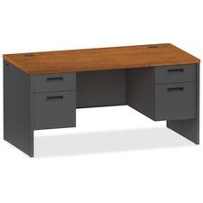 LLR 97108 Lorell Cherry/Charcoal Modular Desk Furniture LLR97108