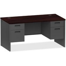 LLR97109 - Lorell Mahogany/Charcoal Pedestal Desk