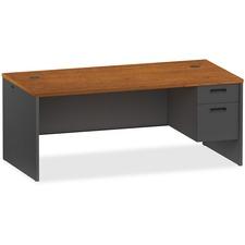 LLR97110 - Lorell Cherry/Charcoal Pedestal Desk
