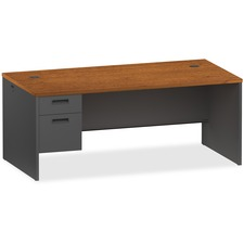 LLR97112 - Lorell Cherry/Charcoal Pedestal Desk