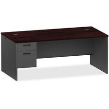 LLR97113 - Lorell Mahogany/Charcoal Pedestal Desk